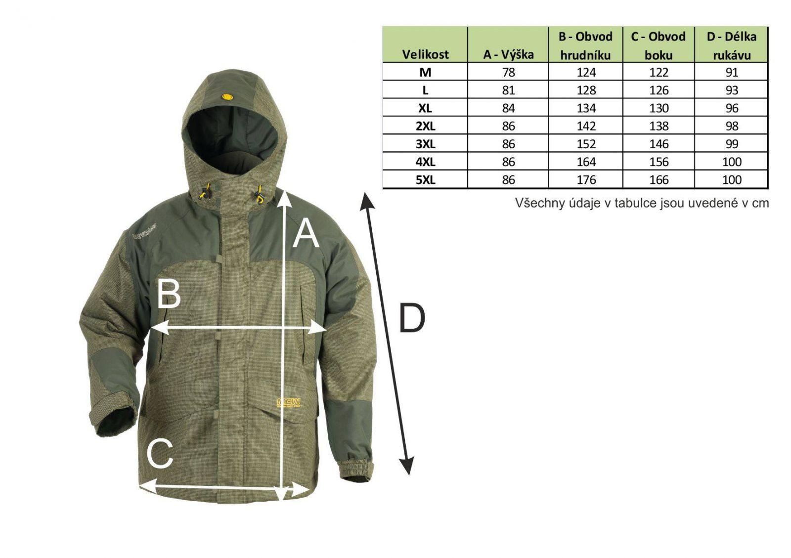 Veľkostná tabuľka obleku Mivardi Harcore MCW 3in1